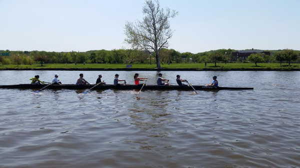 Capital's current Learn-to-Row class working on the basics with Club AM's Mark Lance as volunteer coxswain.