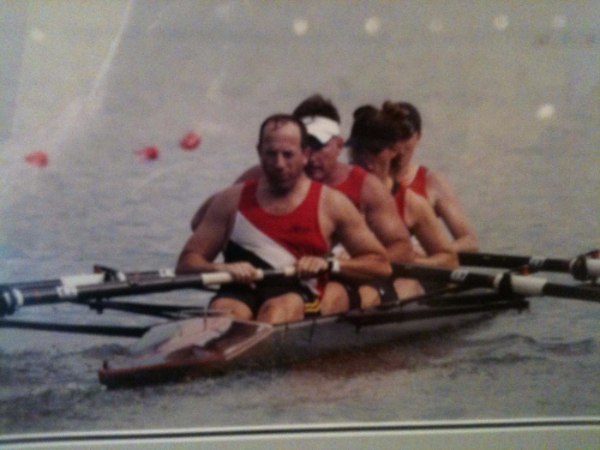 Mark sitting stroke for the Comp Team in the MIxed B4+ at Masters Nationals in Oak Ridge, TN in th early 2000s.   Also pictured are Steve Vermillion (3-seat), Amy Flickinger (2-seat), and Debbie Frye (bow).
